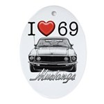 69 Mustang Oval Ornament