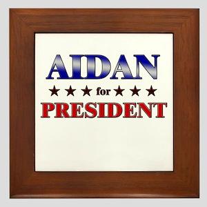 AIDAN for president Framed Tile