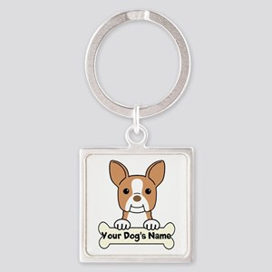 Personalized Boston Terrier Square Keychain