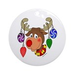 Christmas Reindeer Ornament (Round)