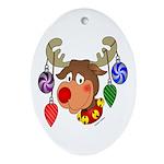 Christmas Reindeer Oval Ornament