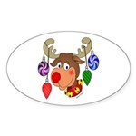 Christmas Reindeer Oval Sticker