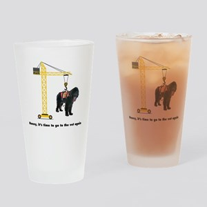 Newfie goes to the Vet Drinking Glass