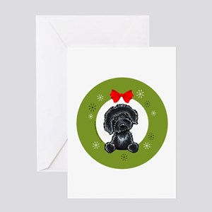 Black Labradoodle Christmas Greeting Cards