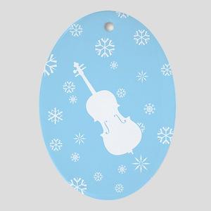 Cello Snowflakes - Ornament (Blue Oval)