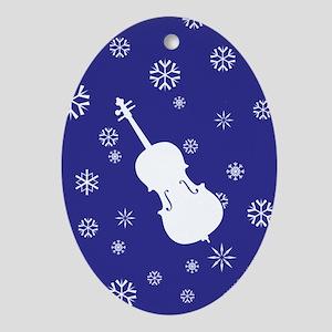 Cello Snowflakes - Ornament (Dk Blue Oval)