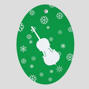 Cello Snowflakes - Ornament (Green Oval)