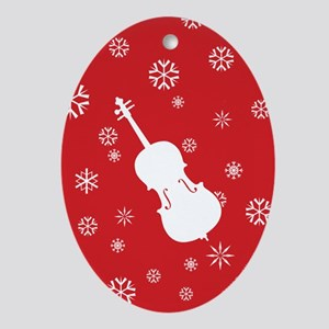 Cello Snowflakes - Ornament (Red Oval)