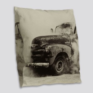 Smokin Truck Burlap Throw Pillow