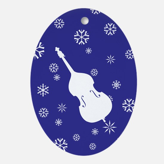 Double Bass Snowflakes - Ornament (Dk Blue Oval)