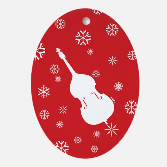Double Bass Snowflakes - Ornament (Red Oval)
