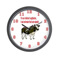 Meat Eating Vegitarian Wall Clock