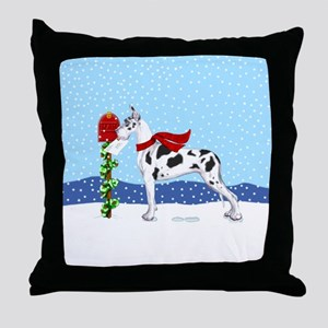 Great Dane Harlequin Mail Throw Pillow