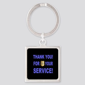 Police Officer Thank You Square Keychain