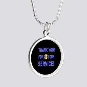 Police Officer Thank You Silver Round Necklace