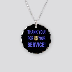 Police Officer Thank You Necklace Circle Charm