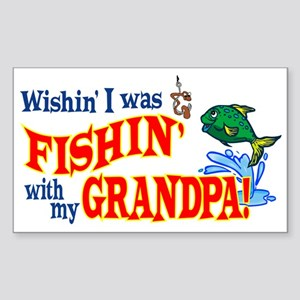 Fishing With Grandpa Rectangle Sticker