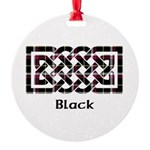 Knot - Black Round Ornament