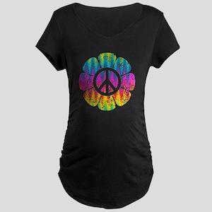 Colorful Peace Flower Maternity Dark T-Shirt