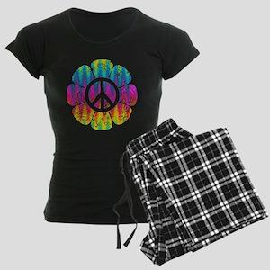 Colorful Peace Flower Women's Dark Pajamas