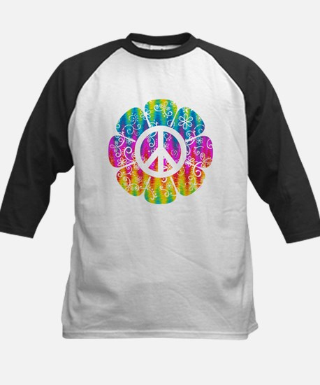 Colorful Peace Flower Kids Baseball Jersey