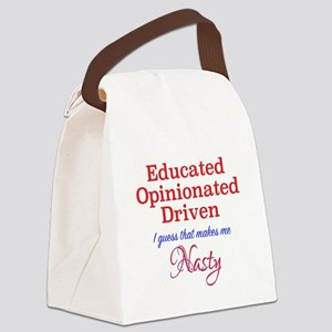 Educated,Opinionated,Driven Canvas Lunch Bag