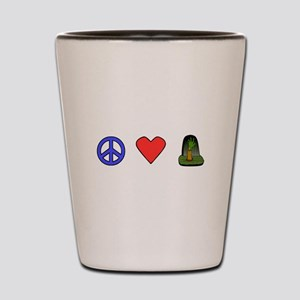 Peace Love Zombies Shot Glass