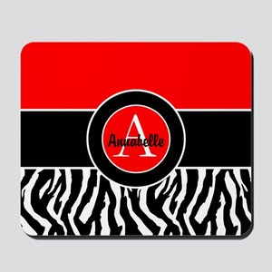 Red Zebra Monogram Personalized Mousepad