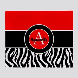 Red Zebra Monogram Personalized Throw Blanket
