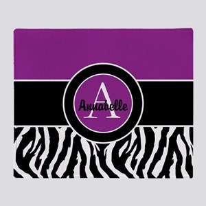 Purple Zebra Monogram Personalized Throw Blanket