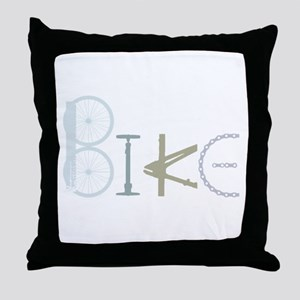 Bike Word from Bike Parts Throw Pillow