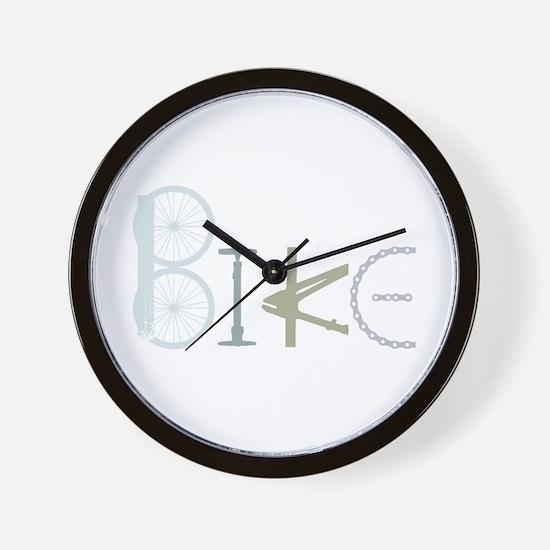 Bike Word From Bike Parts Wall Clock
