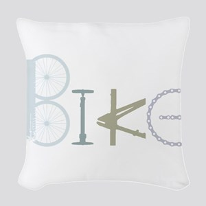 Bike Word From Bike Parts Woven Throw Pillow