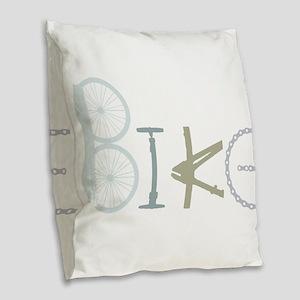 Bike Word from Bike Parts Burlap Throw Pillow