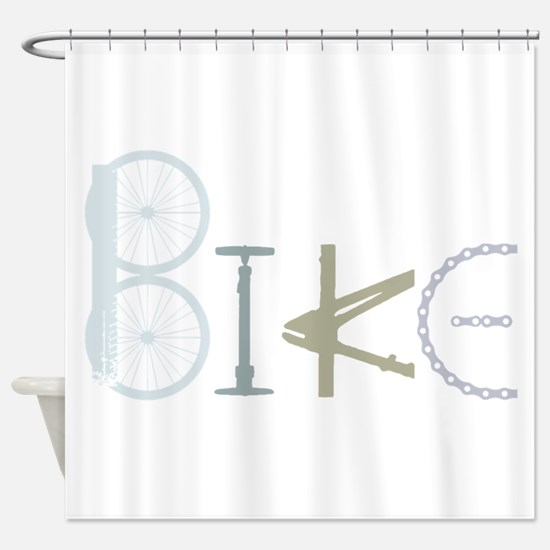 Bike Word from Bike Parts Shower Curtain