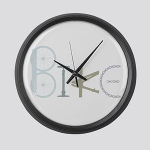 Bike Word From Bike Parts Large Wall Clock