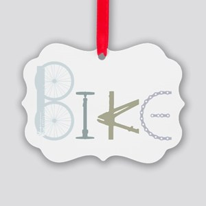 Bike Word From Bike Parts Picture Ornament