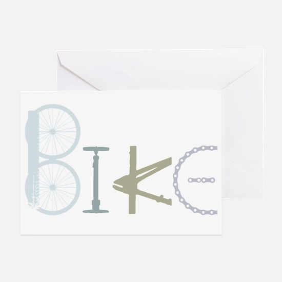 Bike Word From Bike Parts Greeting Cards