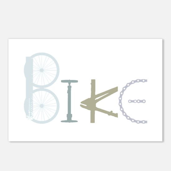 Bike Word From Bike Parts Postcards (package Of 8)
