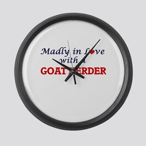 Madly in love with a Goat Herder Large Wall Clock