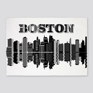 Boston Skyline Typography 5'x7'Area Rug