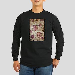 Vintage Romantic Floral Wood P Long Sleeve T-Shirt
