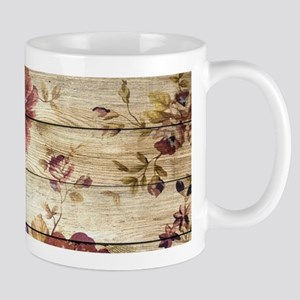 Vintage Romantic Floral Wood Pattern Mugs
