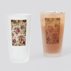 Vintage Romantic Floral Wood Patter Drinking Glass