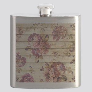 Vintage Romantic Floral Wood Pattern Flask