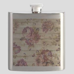 Vintage Romantic Floral Wood Pattern Flask