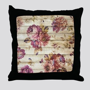 Vintage Romantic Floral Wood Pattern Throw Pillow
