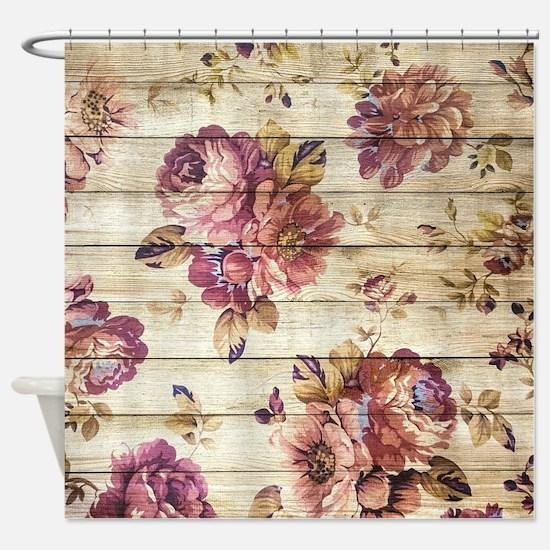 Vintage Romantic Floral Wood Patter Shower Curtain
