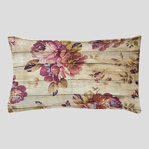 Vintage Romantic Floral Wood Pattern Pillow Case