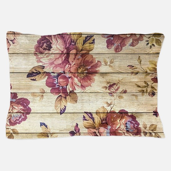 Vintage Romantic Floral Wood Pattern Pillow Case